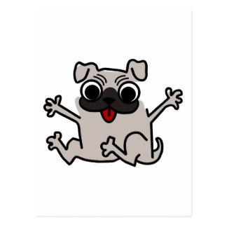 Jumping Gray/Grey Cartoon Pug Dog with Tongue Out Postcard