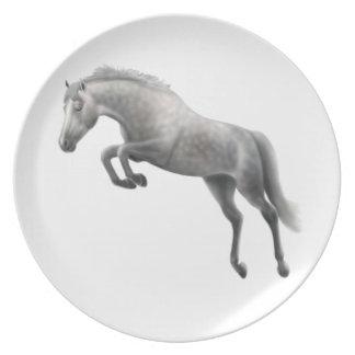 Jumping Gray Warmblood Horse Plate