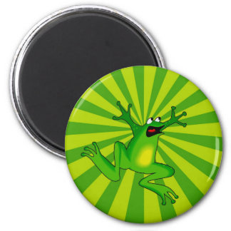 Jumping Green Frog 2 Inch Round Magnet