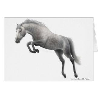 Jumping Grey Horse Greeting Card