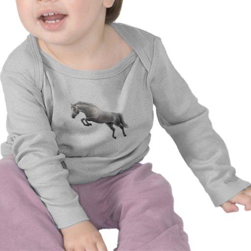 jumping grey horse t shirts