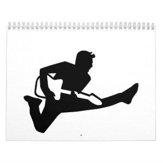 Jumping guitarist wall calendar