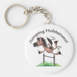 Jumping Holsteiners! Basic Round Button Keychain