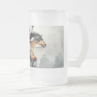 Jumping Horse Frosted Glass Beer Mug