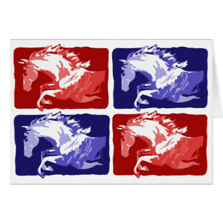 jumping horses block print in red and blue card