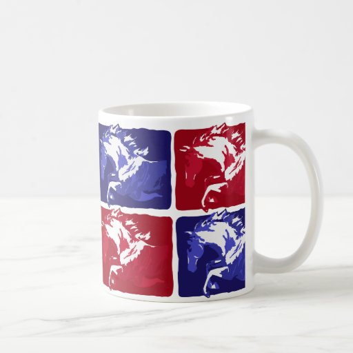 jumping horses block print in red and blue mugs