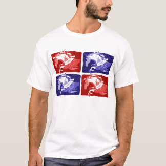 jumping horses block print in red and blue T-Shirt