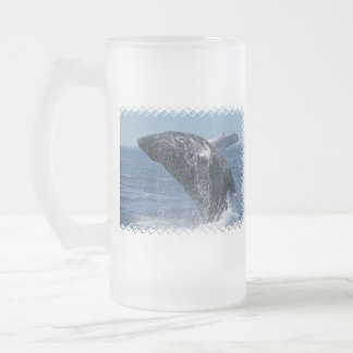 Jumping Humpback Whale  Frosted Beer Mug