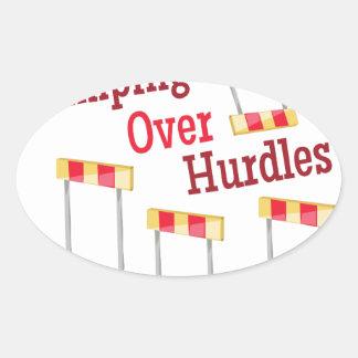 Jumping Hurdles Oval Sticker