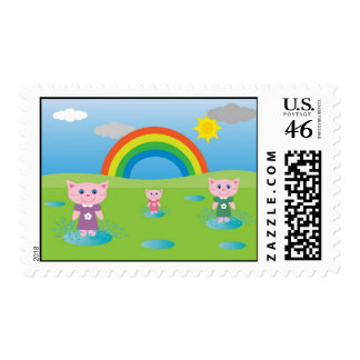 Jumping in puddles stamps