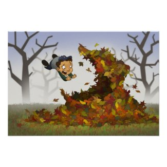 """""""Jumping into Leaves"""" Poster print"""