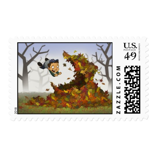 """Jumping into Leaves"" Stamps"