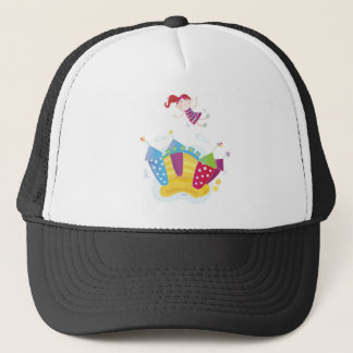 JUMPING LITTLE GIRL ILLUSTRATED COLLECTION TRUCKER HAT