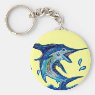 Jumping Marlin Basic Round Button Keychain