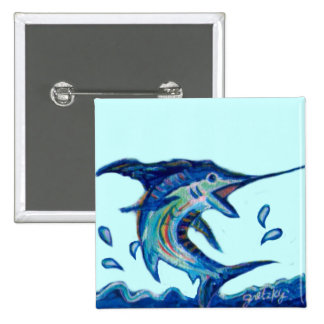 Jumping Marlin 2 Inch Square Button