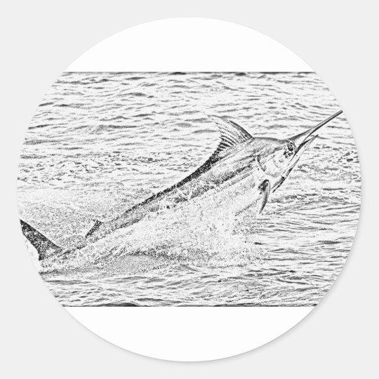 Jumping marlin classic round sticker