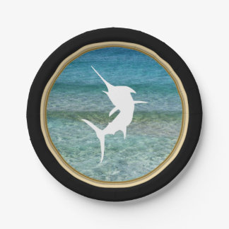 Jumping Marlin Ocean Black and Faux Gold Paper Plate