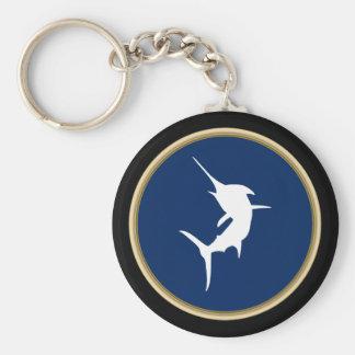 Jumping Marlin on Dark Blue Keychain