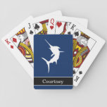 "Jumping Marlin on Dark Blue With Custom Name Playing Cards<br><div class=""desc"">Jumping Marlin on Dark Blue With Custom Name Playing Cards. Personalize these custom playing cards by typing your name in the text box.</div>"