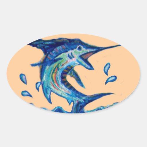 Jumping Marlin Oval Sticker