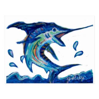 Jumping Marlin Postcard