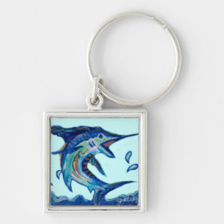 Jumping Marlin Silver-Colored Square Keychain
