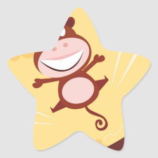 Jumping monkey star sticker