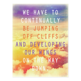 Jumping Off Cliffs Motivational Quote Postcard