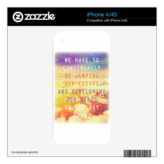 Jumping Off Cliffs - Motivational Quote iPhone 4S Decals