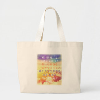 Jumping Off Cliffs Motivational Quote Tote Bags