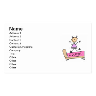 Jumping on the Bed Stick Figure Girl Business Cards