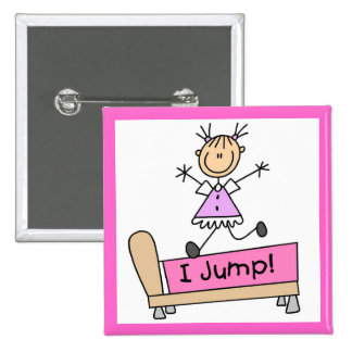 Jumping on the Bed Stick Figure Girl Pinback Buttons