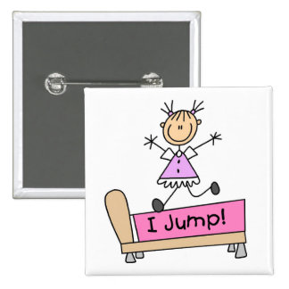 Jumping on the Bed Stick Figure Girl Button