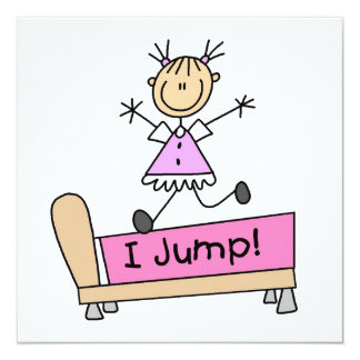 """Jumping on the Bed Stick Figure Girl 5.25"""" Square Invitation Card"""