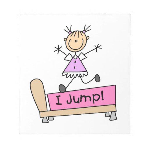 Jumping on the Bed Stick Figure Girl Note Pad