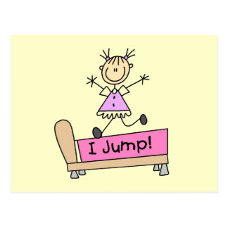 Jumping on the Bed Stick Figure Girl Postcard