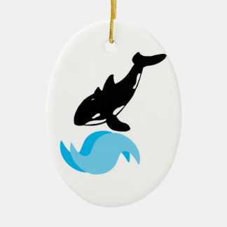 jumping orca Double-Sided oval ceramic christmas ornament