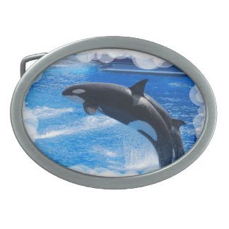 Jumping Orca Whale Oval Belt Buckles