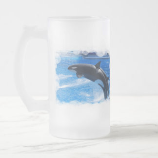 Jumping Orca Whale Frosted Glass Beer Mug