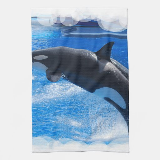 Jumping Orca Whale Kitchen Towel