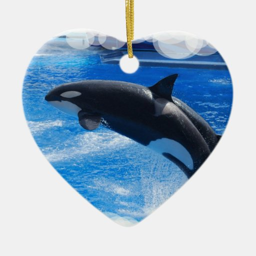 Jumping Orca Whale Double-Sided Heart Ceramic Christmas Ornament