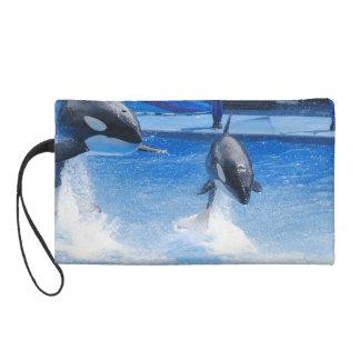 Jumping Orcas Wristlet Clutch