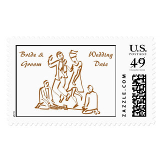 Jumping Over the Broom Wedding Postage Stamp