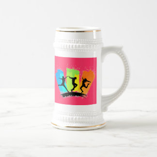 Jumping people silhouettes colorful - beer stein