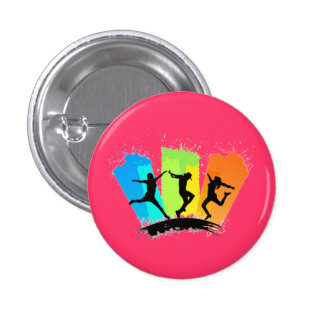 Jumping people silhouettes colorful - pins