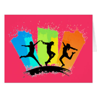 Jumping people silhouettes colorful - card