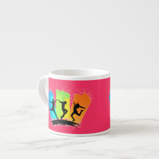Jumping people silhouettes colorful - espresso cup