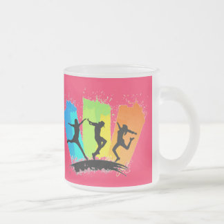 Jumping people silhouettes colorful - frosted glass coffee mug