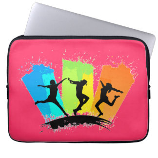 Jumping people silhouettes colorful - computer sleeve