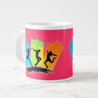 Jumping people silhouettes colorful - large coffee mug